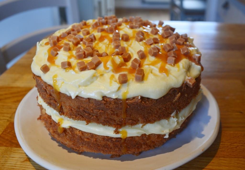 Easy Caramel Cake on a plate