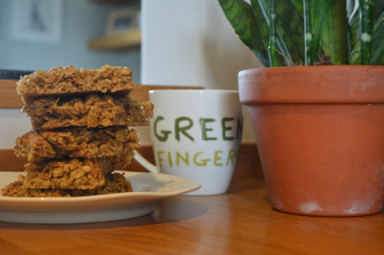 A picture of a stack of flapjacks which can be made using this recipe.